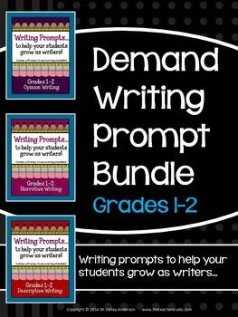 """NOTE:  This is a bundled set of three other resources in my store available at a reduced """"bundle"""" price...Demand Writing Prompts:  Narrative Writing SetDemand Writing Prompts:  Opinion Writing SetDemand Writing Prompts:  Descriptive Writing SetBy far one of the biggest difference makers for me as a teacher of writers has been my use of demand prompts to guide instruction."""