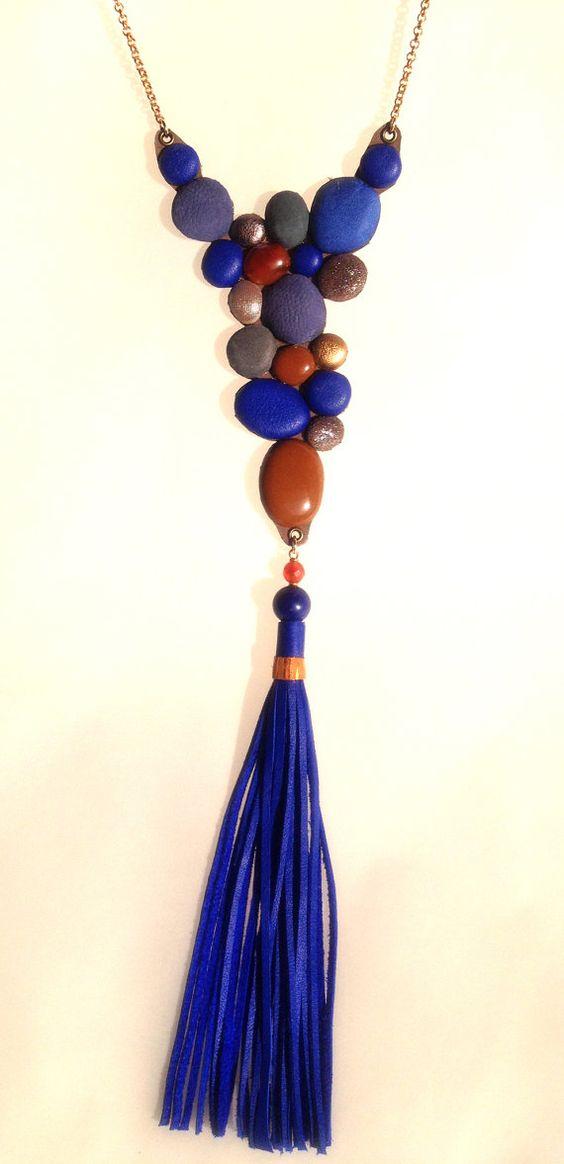 Blue long necklace bib necklace bubble necklace by Shulili4U