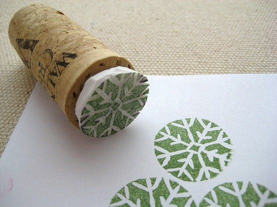 cork stamping -  create stamp form styro and glue to cork: