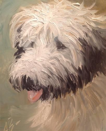 """Daily Paintworks - """"Lovable WheatenTerrier"""" by Annette Balesteri"""