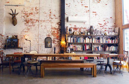 lofty: Dining Rooms, Interior Design, Dining Table, Deer Head, Living Room, Diningroom, Brick Walls, Exposed Brick, Long Tables