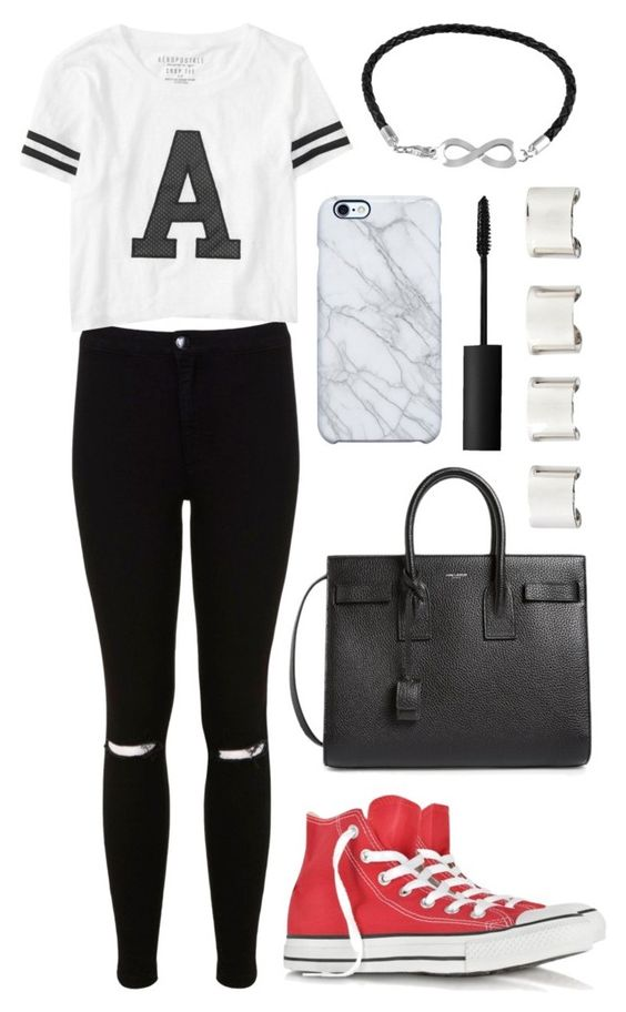 """""""#217"""" by uccelli ❤ liked on Polyvore featuring Miss Selfridge, Converse, Aéropostale, Yves Saint Laurent, Jewel Exclusive, Uncommon, Maison Margiela and NARS Cosmetics"""