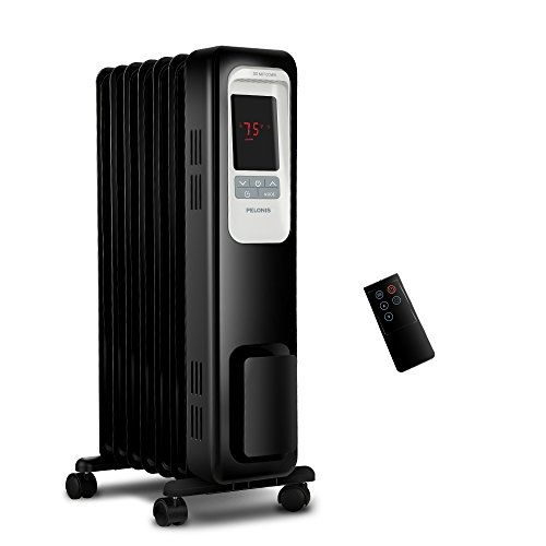 Pelonis Oil Filled Radiator Space Heater Digital Thermostat 1500w Portable Heater With 24 Hours Timer Remote Control Electric Heater For Indoor Use Led Dis Oil Filled Radiator Space Heater Digital Thermostat
