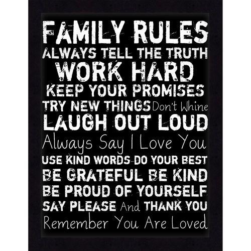Black Family Rules Framed Art Walmart Com Family Rules Black Framed Art Positive Phrases