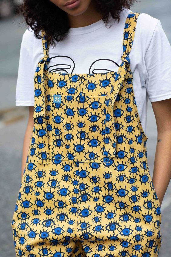 'Eye Party' Char Gale x Lucy & Yak Collaboration Limited Edition dungarees