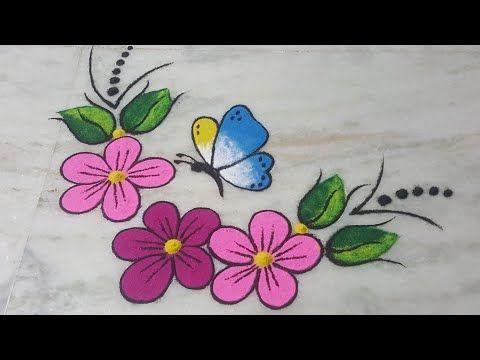 Butterfly Flower Rangoli Painting Effect Rangoli Muruja Jhoti Kolam New Year Rangoli 3d Rang New Year Rangoli Colorful Rangoli Designs Rangoli Designs Flower