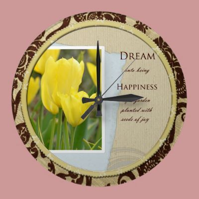 Yellow Tulips Garden Dream and Happiness Round Clocks by joacreations