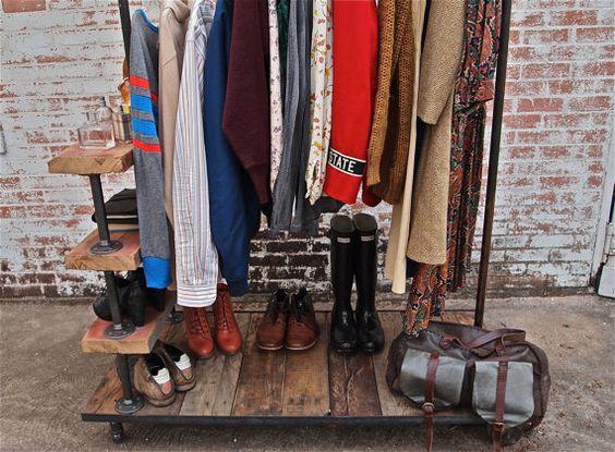 Industrial Garment Rack Triple Level by stellableudesigns on Etsy, $529.00