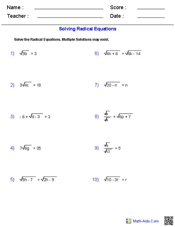 math worksheet : solving radical equations worksheets  math aids com  pinterest  : Math Equations Worksheets