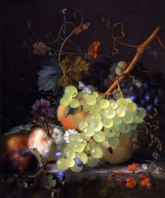 Fruit Still Life ~ artist Jan van Huysum, c.1700's, Netherlands. #art #painting #still_life #fruit: