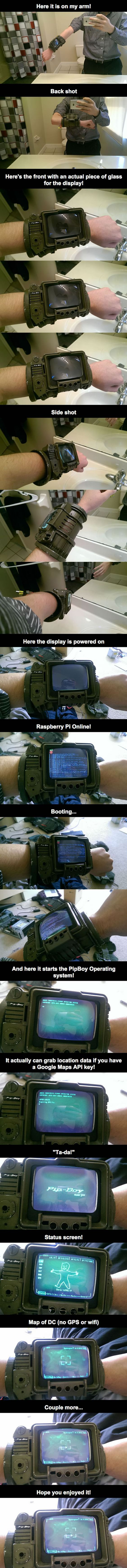 This guy made a PipBoy 3000A using Rasberry Pi
