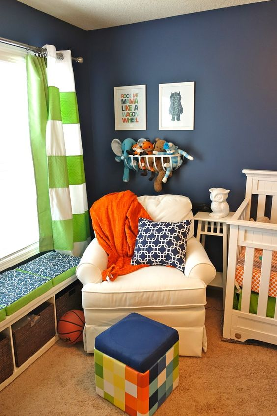 These white curtains are from @Target with green fabric sewn on them to create horizontal stripes! #DIY #Target #nursery: