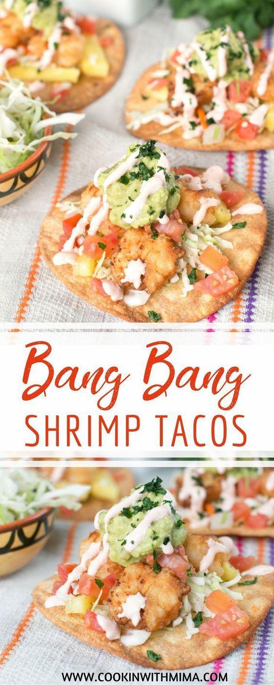 Bang Bang Shrimp Tacos with Pineapple Coleslaw