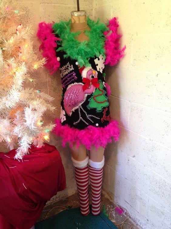 Ooh Lala Ugly Tacky Lighted Pink Flamingo Christmas