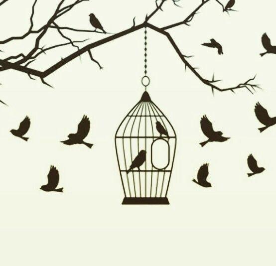 بين قضبان القفص يتحدث العصفور في سره صوت عصافير في الخارج يبدو أنها ضائعة Art Birds Tattoo Sewing Embroidery Designs