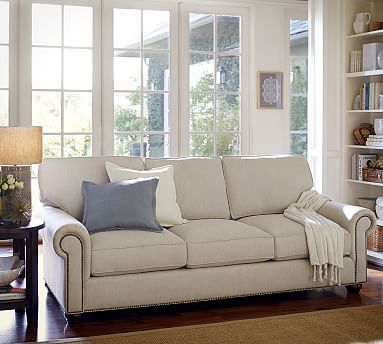Webster Upholstered Sofa With Nailheads Collection