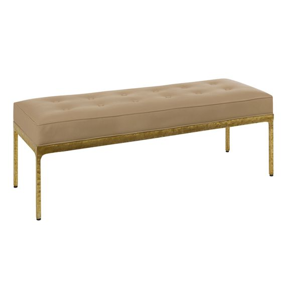 Metropolis Bench in Gold Leaf - <p>Gold leafed frame with suede buttoned seat</p><p>Re-upholstery available</p>