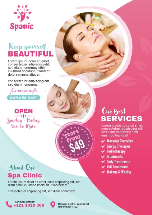 Beauty Flyer Template Spa Flyer Beauty Salon Posters Beauty Posters