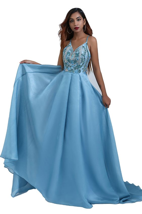 Beaded Blue Long Prom Dress