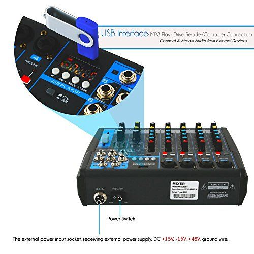 Pyle Professional Audio Mixer Sound Board Console Desk System Interface With 6 Channel Usb Bluetooth Digital M Professional Audio Audio Wireless Streaming