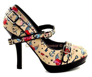 Get in my closet!! Rockabilly tattoo heels.