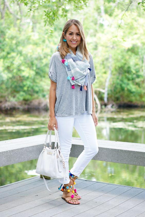 Tassel scarf, white jeans, pom pom sandals:
