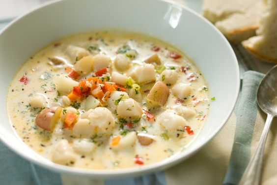Bay Scallop Chowder Recipe (you can substitute coconut milk or almond milk for dairy milk)