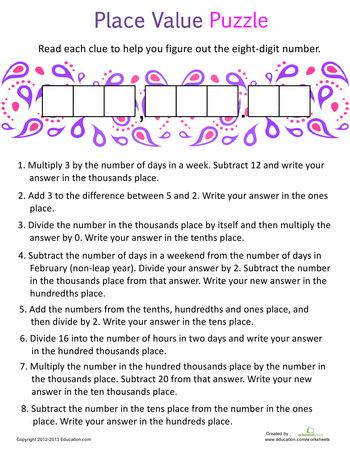 Worksheets: Place Value Puzzle #2