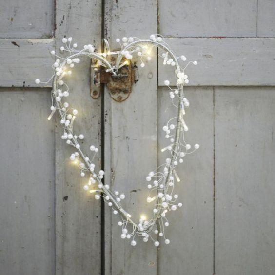 lighted heart wreath