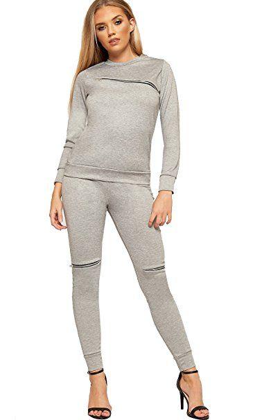 WEARALL Damen Top Hose Bottoms Loungewear Reißverschluss