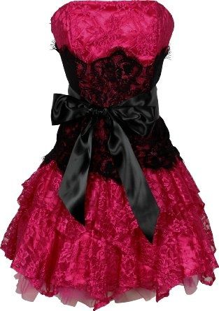 via black and pink / Hot pink lace party dress with black lace ...