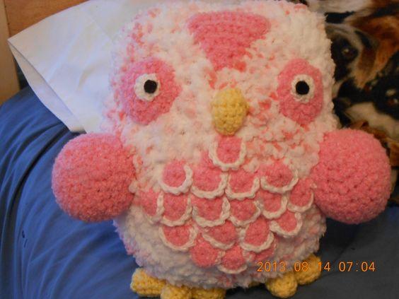 Pink plush owl