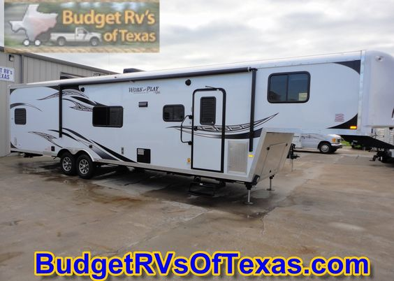Got Toys? 2015 Work and Play WPF38RLS That Is Ready To Play See more great Toy haulers at BudgetRVsOfTexas.com