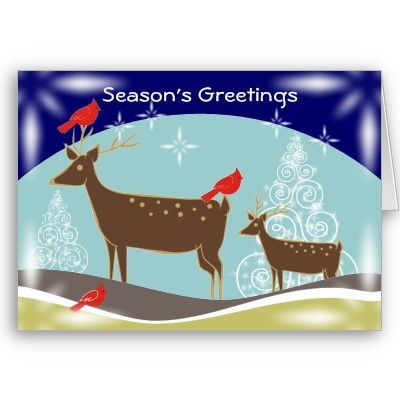 Deer, Christmas Trees And Cardinals Greeting Cards by zazzleproducts1