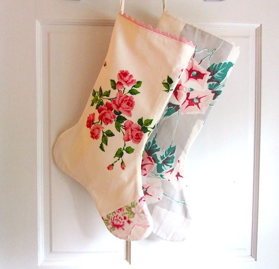 Cottage style stockings made from vintage tablecloths and kitchen curtains. Available for sale at xmasmuse.etsy.com