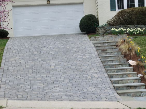 Landscaping A Sloping Driveway : Sloped paver driveway with steps google driveways and search