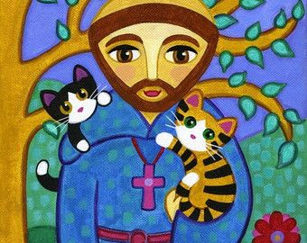 Saint FRANCIS of Assisi & CAT Folk Art PRINT From by thatsmycat