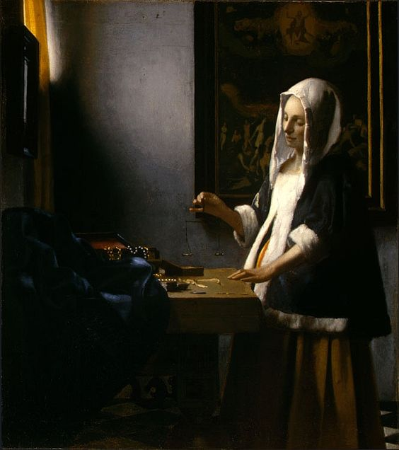 Woman Holding a Balance by Vermeer Another genius of the baroque period, notice the relationship between the balance and the painting within the painting of Christ's ascension and judgment