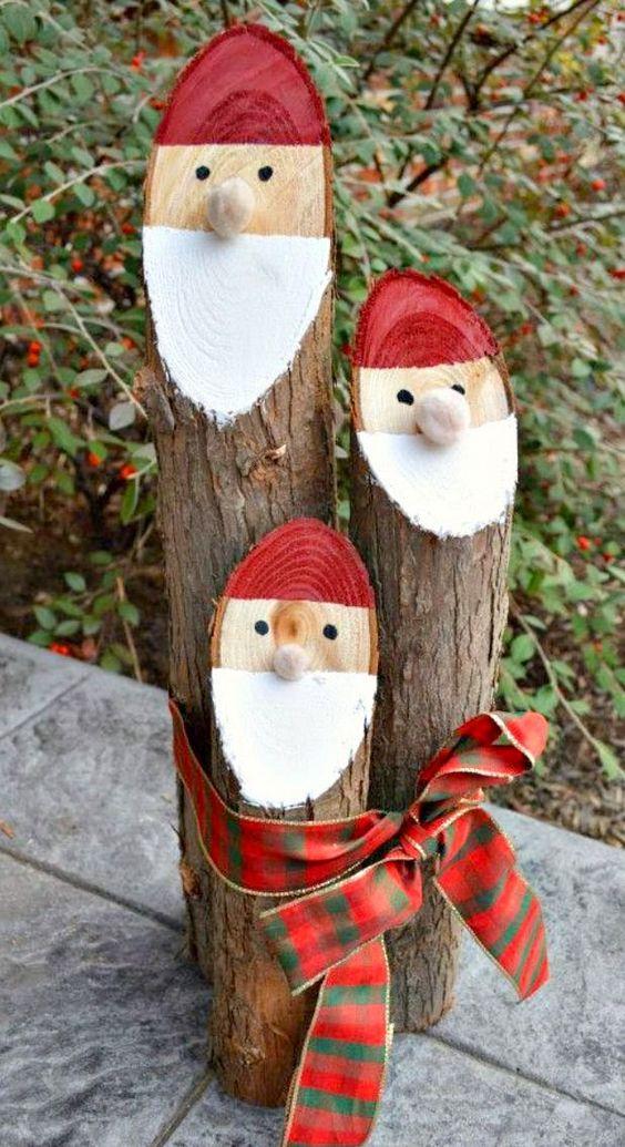 Como fazer papai noel fácil com toras de madeira e pintura para decoração rústica de natal ~ VillarteDesign Artesanato: