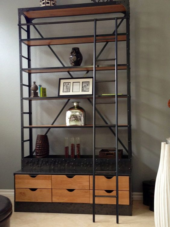 etagere bookcase extra tall shelving unit with drawers and ladder dream apartment. Black Bedroom Furniture Sets. Home Design Ideas