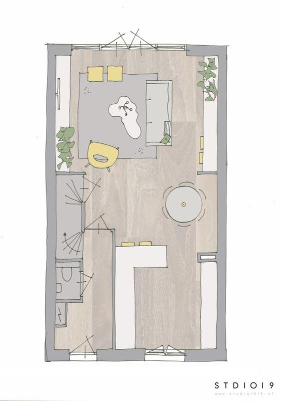 Interieuradvies indeling nieuwbouwhuis for Trap tekenen plattegrond