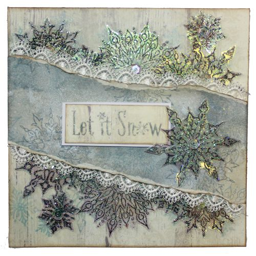 This is the gorgeous new Winter's Snowflakes set designed by Sharon Bennett for Hobby Art. Clear set contains 18 stamps. This lovely card was made by Sally Dodger: