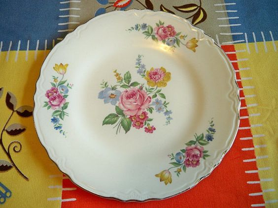 Vintage Floral China Plate Gold Trim by BlackRain4 on Etsy