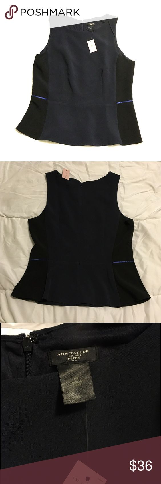 Ann Taylor Factory sleeveless blouse This blouse is brand new w/tag attached. Perfect for business casual attire. Color is dark blue and black. Ann Taylor Factory Tops Blouses