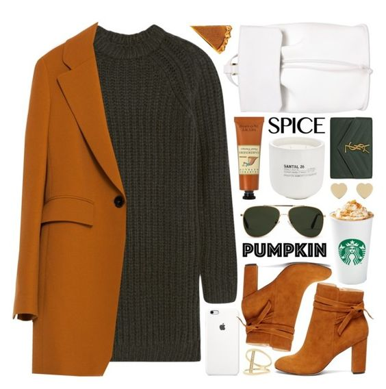 """""""pumpkin spice style"""" by jesuisunlapin ❤ liked on Polyvore featuring DESA 1972, NLST, Oliver Goldsmith, Zara, Sole Society, Sydney Evan, Crabtree & Evelyn, Le Labo, Yves Saint Laurent and Kate Spade"""