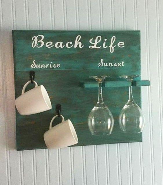 Diy Beach Sign Mug Wine Glass Wall Rack Beach Signs Diy Beach Signs Beach Diy