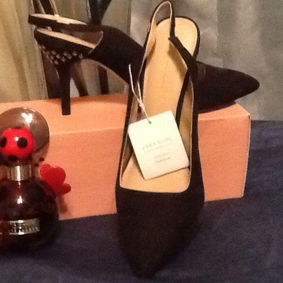 ZARA  -SEXY Black Suede Sling Back Pumps NWT BLACK SUEDE ORNATE HEELS - USA SIZE 8 Tag Euro 39 fits like 7.5 Zara Shoes Heels