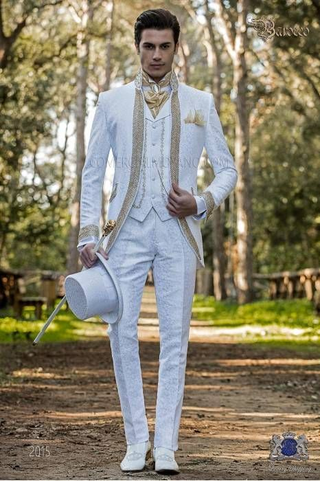 Baroque Wedding Suit Vintage Frock Coat In White Floral Brocade Fabric Mao Collar With Gold Rhinestones Wedding Suits Men White Wedding Suit Wedding Suits