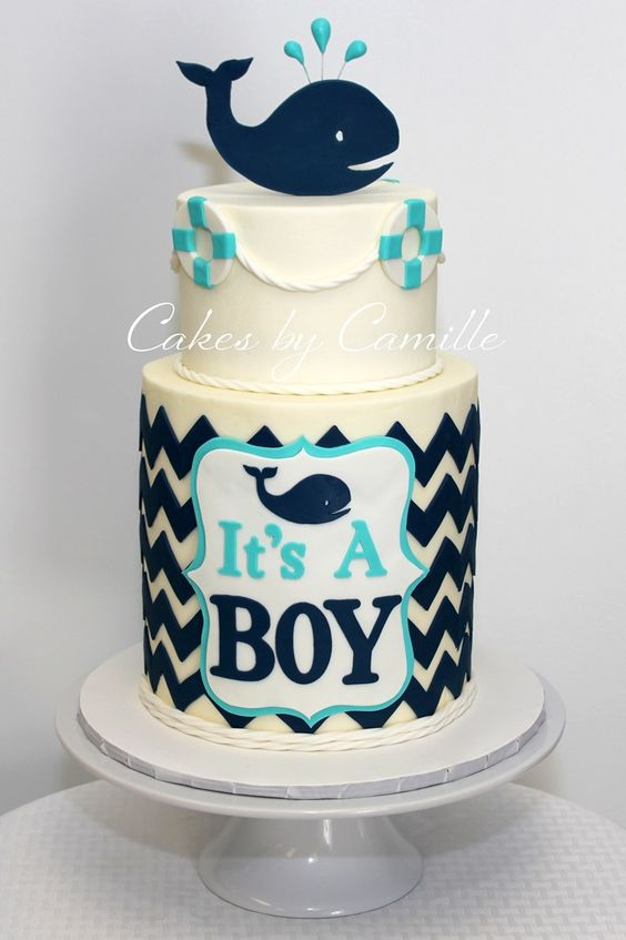 Nautical baby shower cake, whale baby shower, navy aqua baby shower cake, sprinkle shower cake, chevron baby shower cake, Cakes by Camille, LLC: