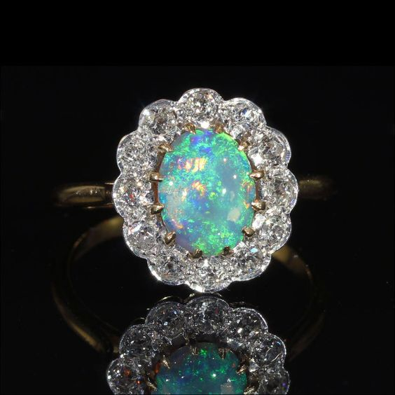Antique Blue Opal and Diamond Cluster Ring, European c. 1910 ~ From Vsterling on Ruby Lane